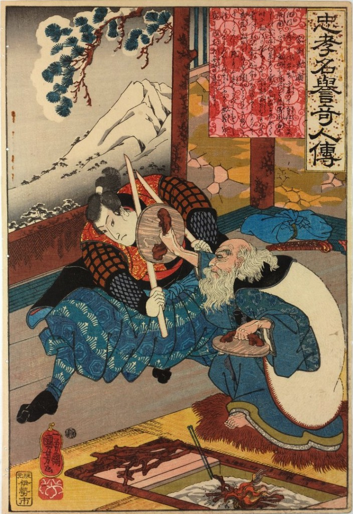 Miyamoto Musashi fencing with Tskuhara Bokuden